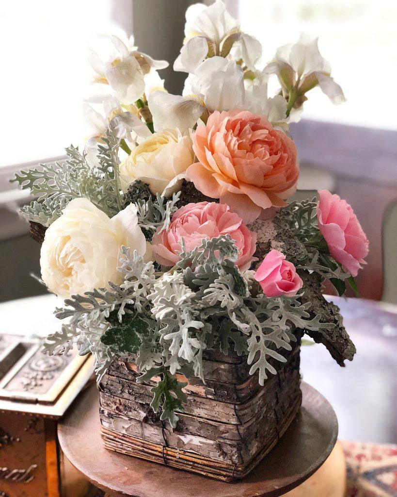 David Austin roses in a flower arrangement
