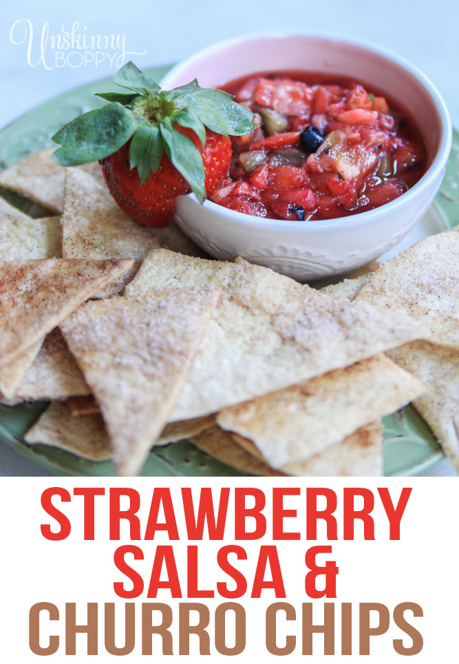 Cinnamon sugar chips with strawberry salsa