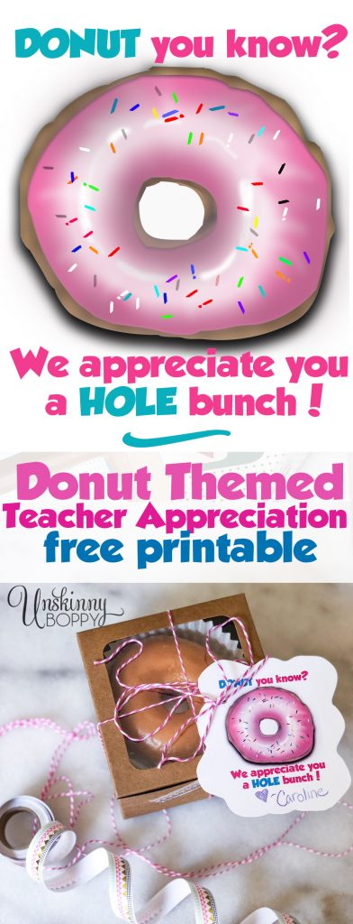 Donut themed Teacher Appreciation Free Printable