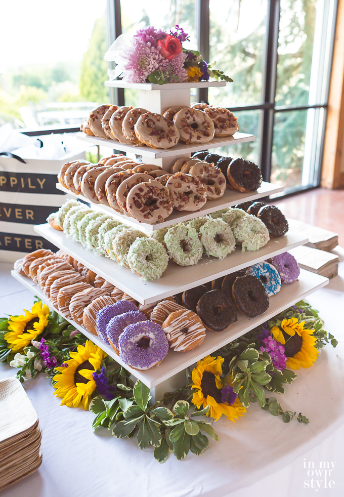 DIY Tiered Doughnut Stand for Wedding Reception
