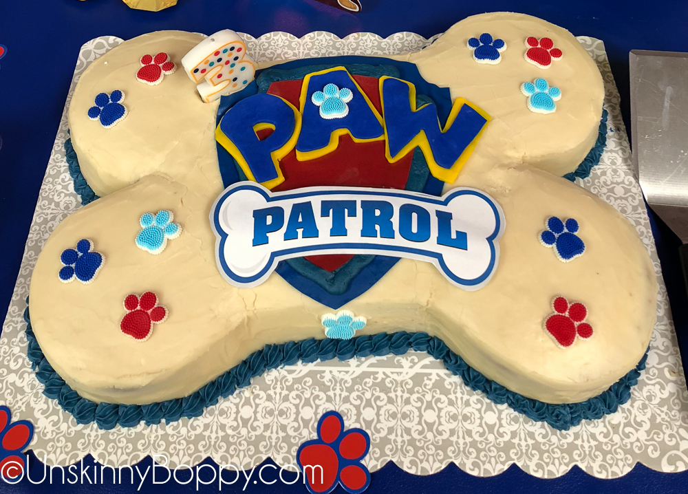 Bone shaped Paw patrol cake