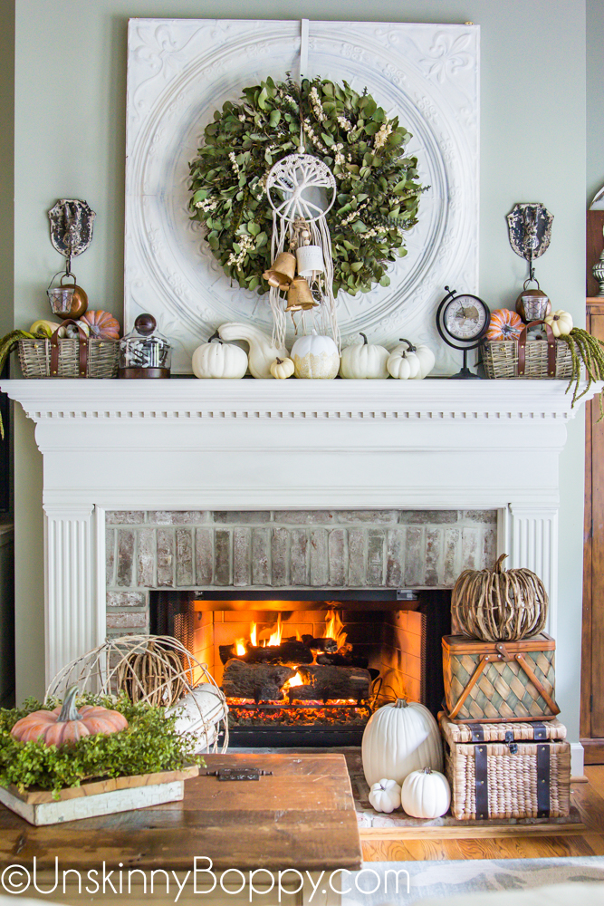 Fall Mantel with Cream and Green color scheme