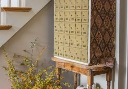 Fall decor on vintage post office box table
