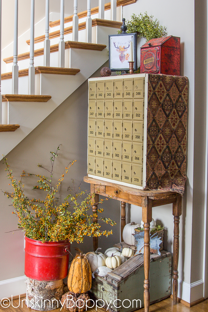 Fall Foyer Decor with old post office boxes