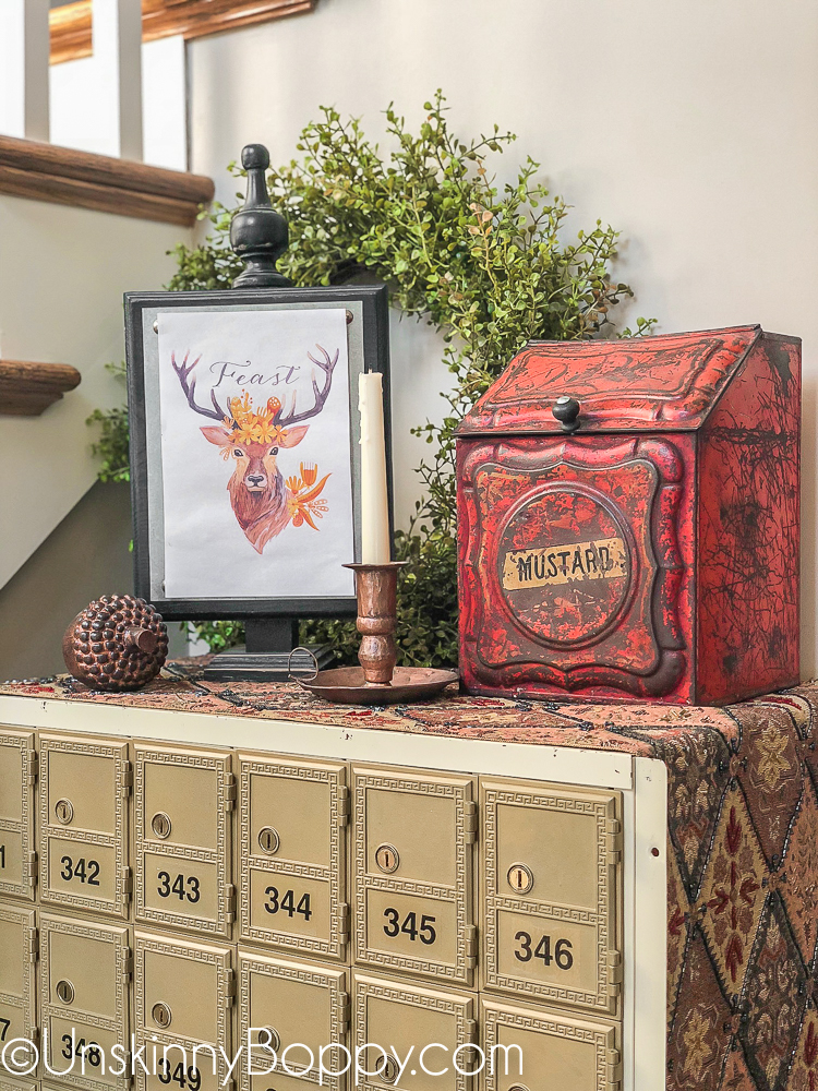 Fall decor - red mustard box, copper candlestick and old post office boxes