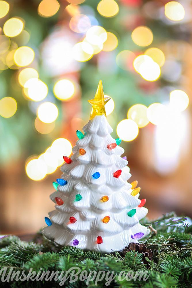 White ceramic Christmas tree with multi lites