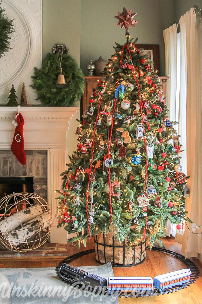 Polar Express train around christmas tree