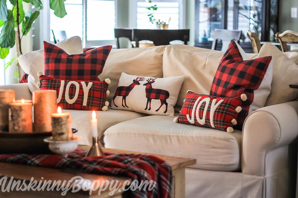 Christmas Decorating - Buffalo Check Joy pom Pillow from Mud Pie