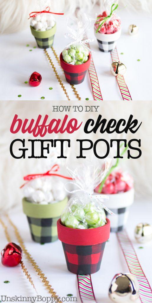 Buffalo check mini gift pots