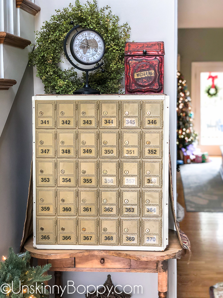 Vintage mailbox used as foyer decor