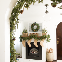 christmas garland on arched doorway