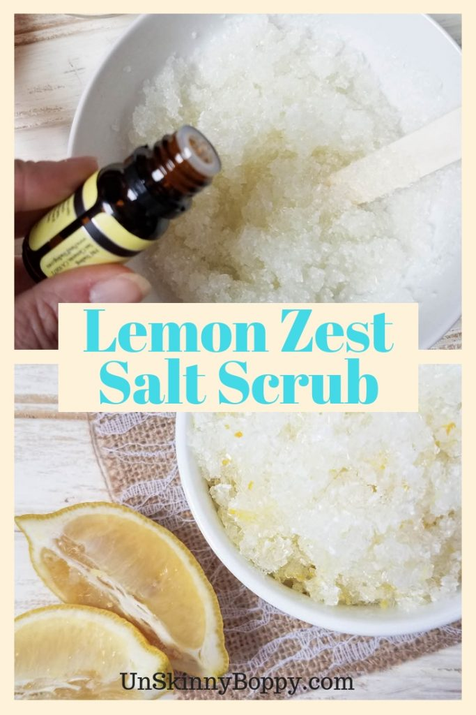This Lemon Zest Salt Scrub is perfect for your at-home spa day! You'll love how simple and easy it is to create!