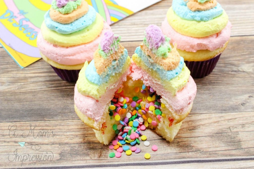 Oh the places you'll go cupcakes with sprinkles inside for a Dr. Suess Themed party