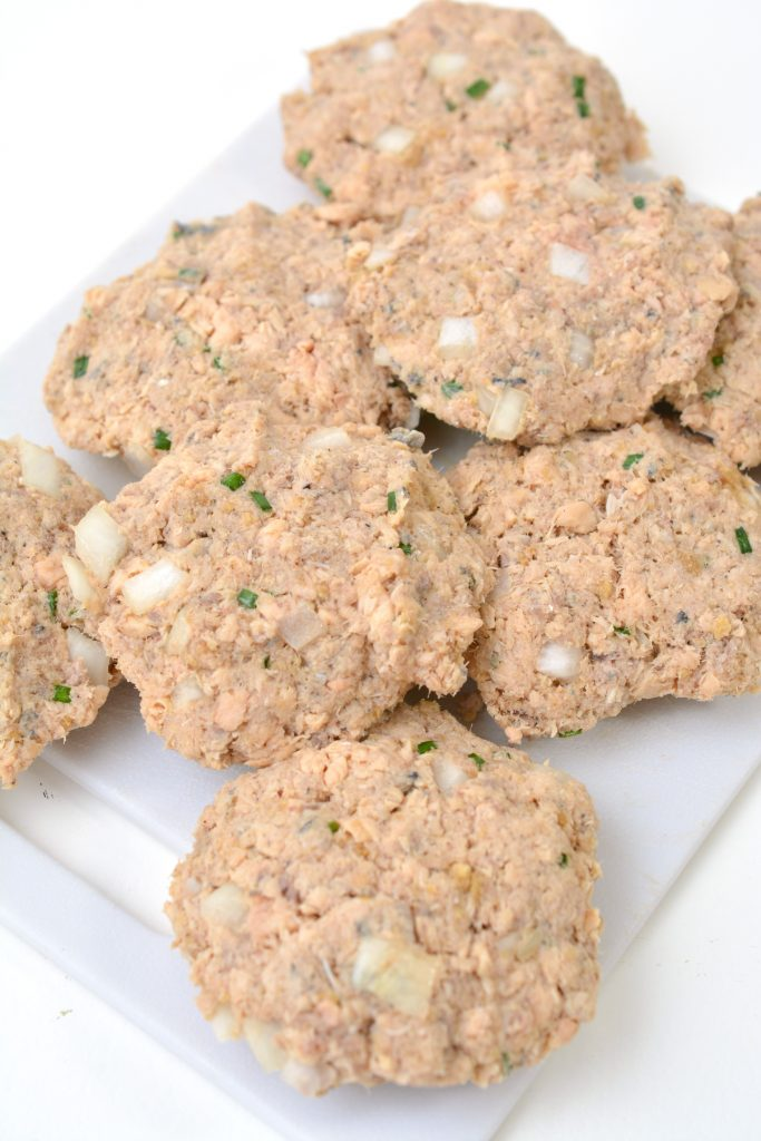 salmon patties formed and ready to be cooked