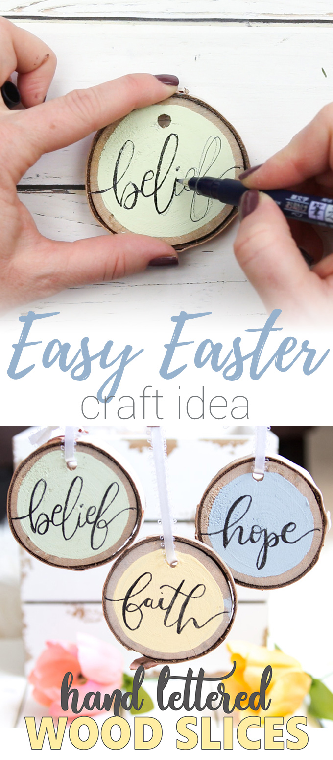 These hand-lettered Easter wood slice ornaments are simple and easy to make. Make time for this fun Easter craft the whole family will love!