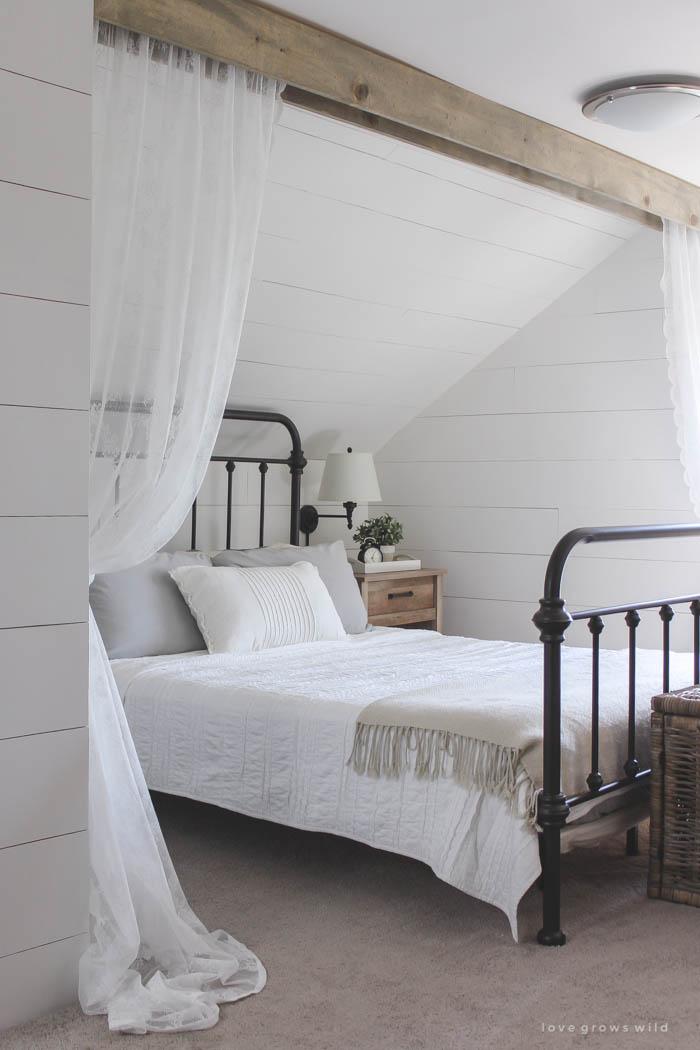 loft bed idea under attic wall