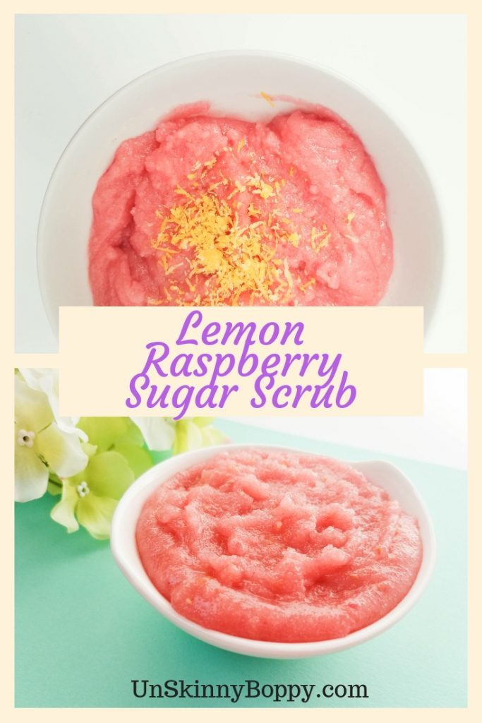 This lemon raspberry sugar scrub recipe smells delicious and feels amazing! Give your skin a treat!