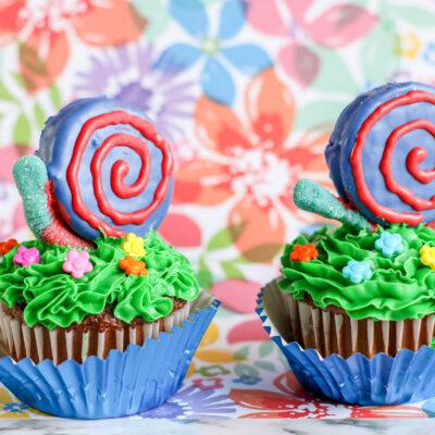 snail and garden themed cupcakes
