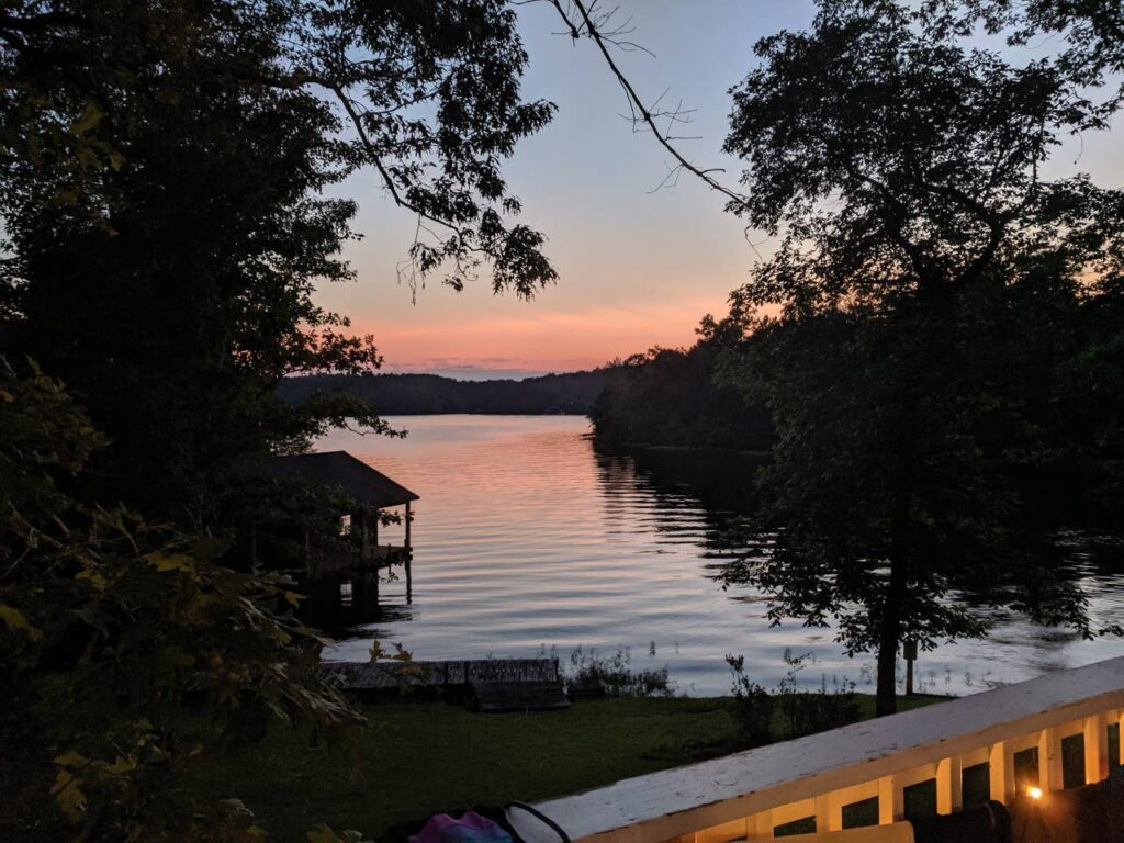 Sunset on lake mitchell