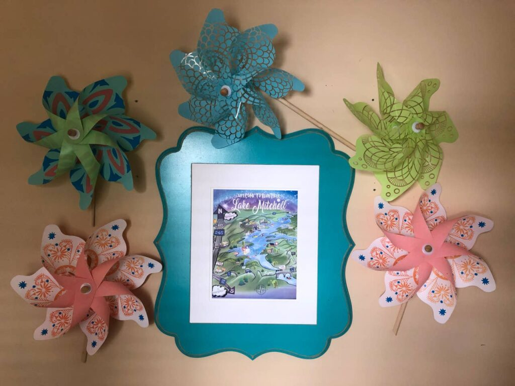 Welcome to Lake Mitchell Map with pinwheels