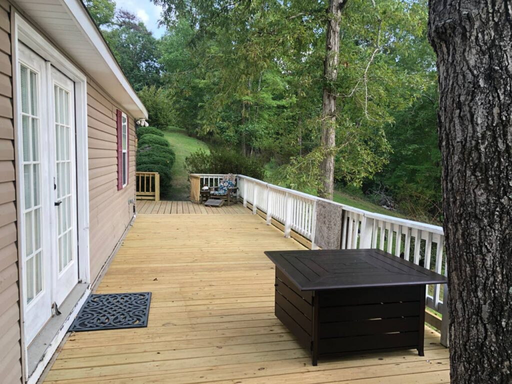 huge side deck at lake house