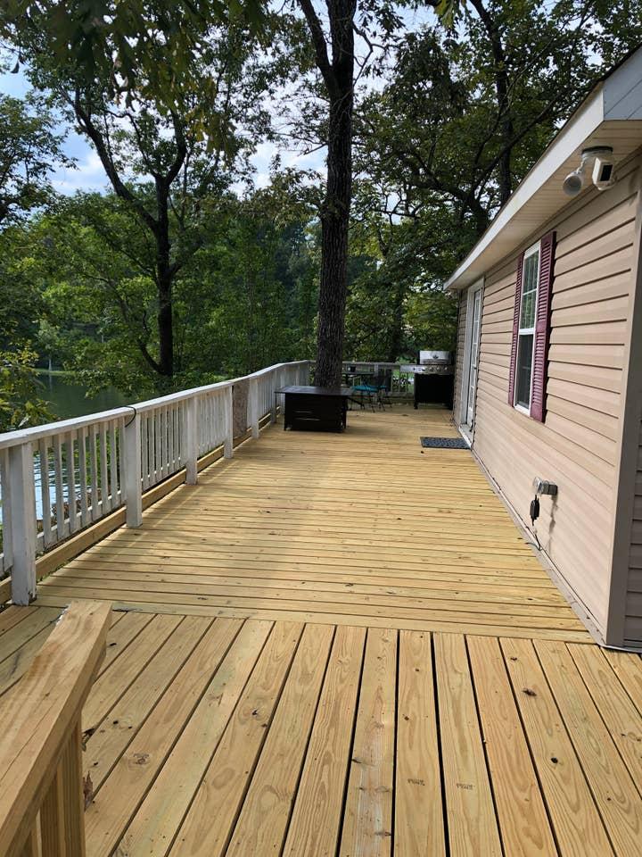new deck at lake house