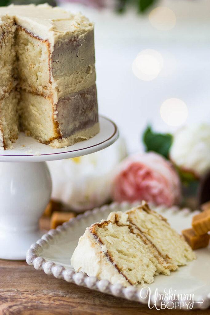 White Almond Sour Cream Cake with Caramel Icing Recipe