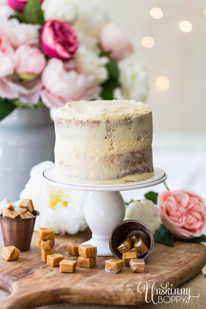 White Almond Sour Cream Cake with Caramel Icing Recipe
