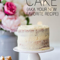 White Almond Sour Cream Cake with Caramel Icing