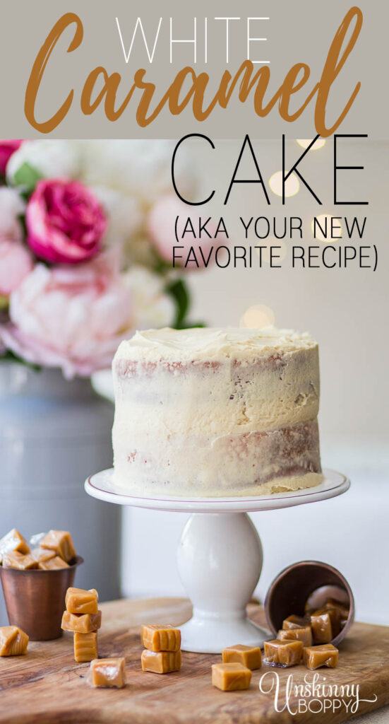 Recipe for White Almond Sour Cream Cake with Caramel Icing