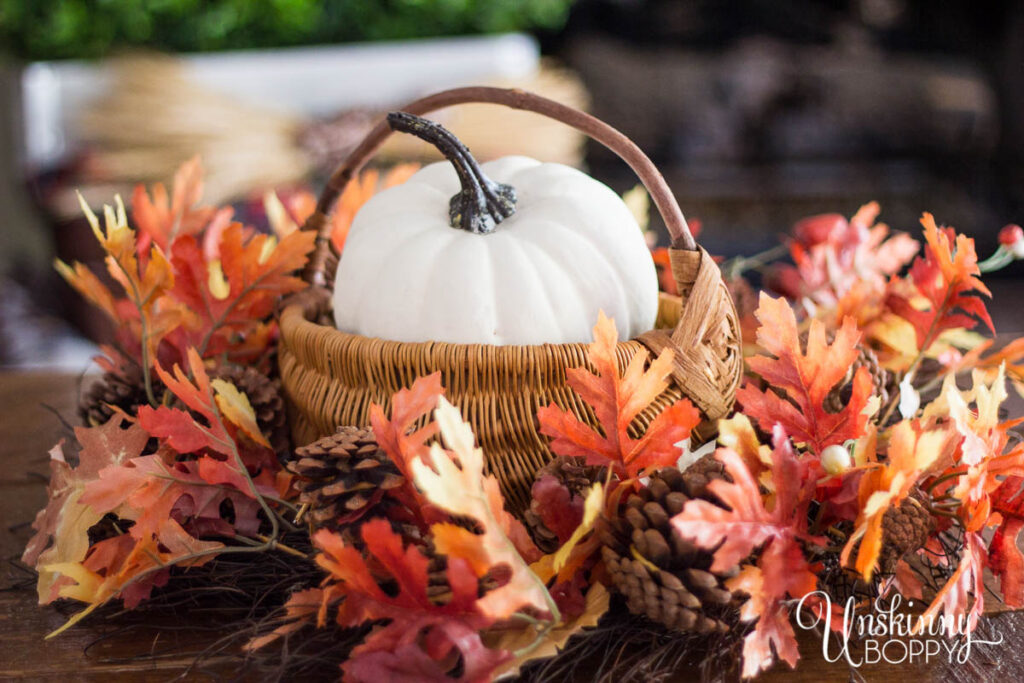 Fall Leaves and Pumpkin Centerpiece