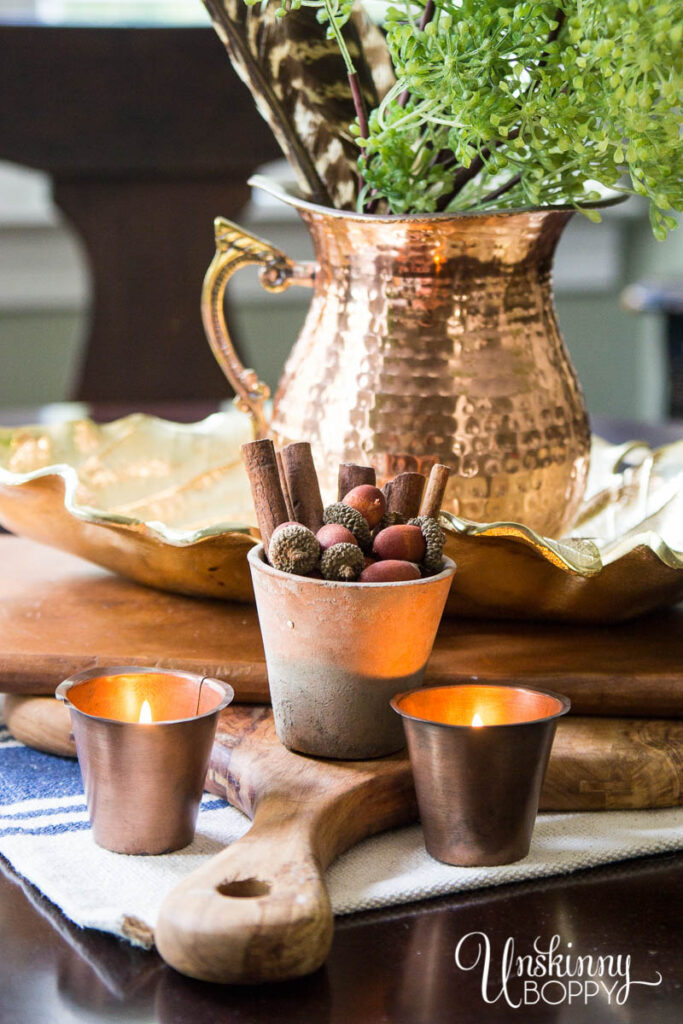 Fall Table Centerpiece with Copper
