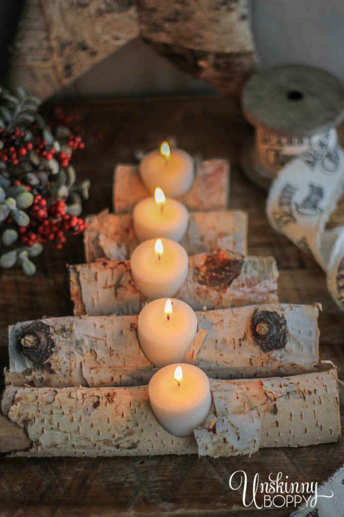 Birch Log Candle Holder in shape of Christmas Tree