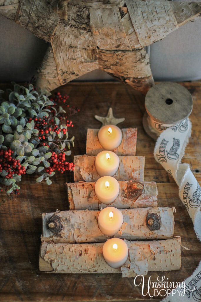 DIY Birch Log Candle Holder