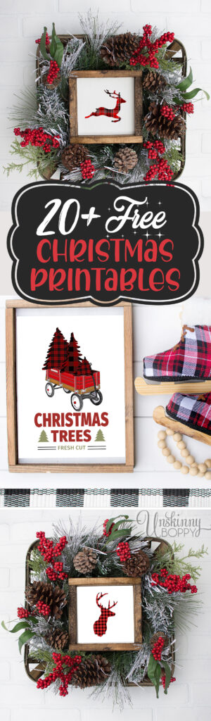 20+ Free Christmas Printables!!!  Buffalo Check and red plaid deer and Christmas trees fill a hand-drawn little red wagon with a Fresh Cut Christmas Trees quote below. #plaid #flannel #redwagon #printable #christmas #christmasdecor #plaidchristmasdecor #plaidchristmastree #plaidprintable #buffalocheck #freeprintable #rustichomedecor #freshcut #rusticchristmas
