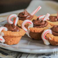 Hot Chocolate Cookies with candy cane cups