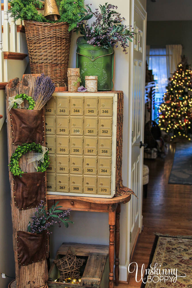 Rustic Foyer Decor with wood, leather, lavender-13