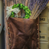 Lavender in a leather pouch