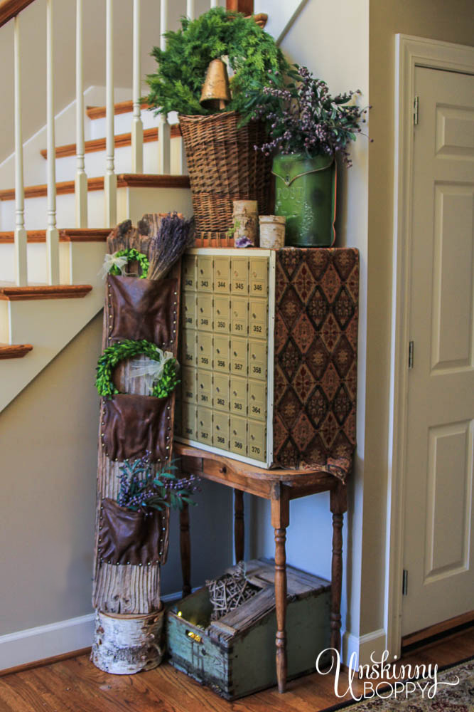 Rustic Foyer Decor with wood, leather, lavende