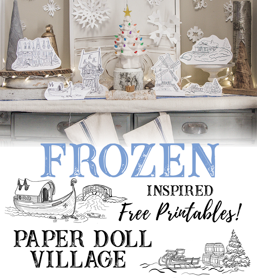 Frozen Inspired Free Printable Paper Doll Village Scenes from Arendelle