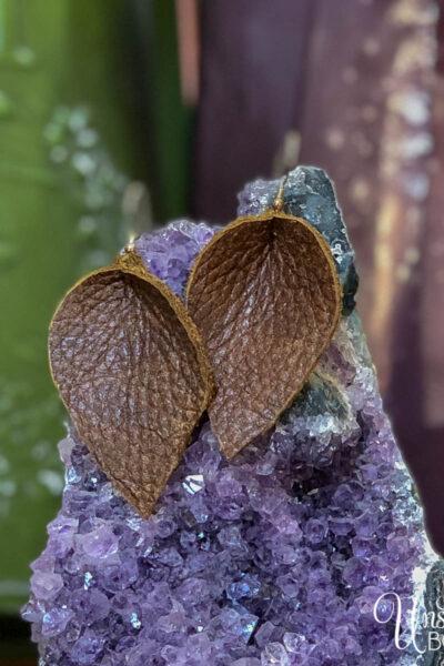 DIY Leather Leaf Earrings-9