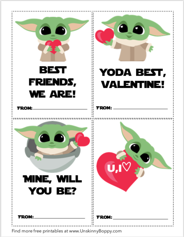Baby Yoda Valentine's Day Card -FREE PRINTABLES