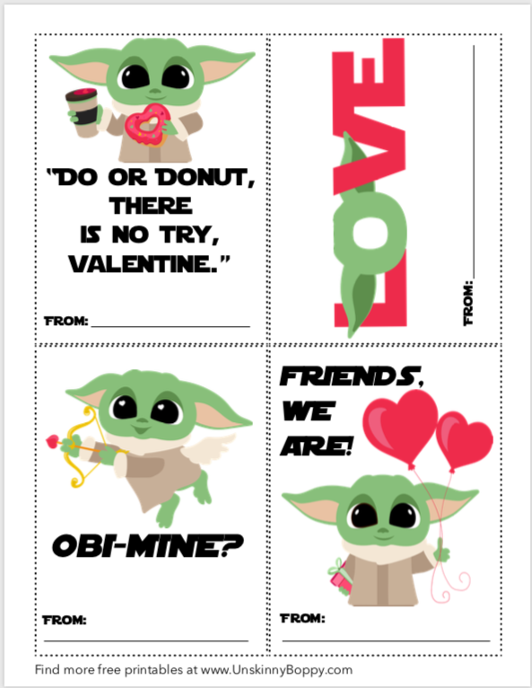 Free Printable Baby Yoda Valentine's Day Cards