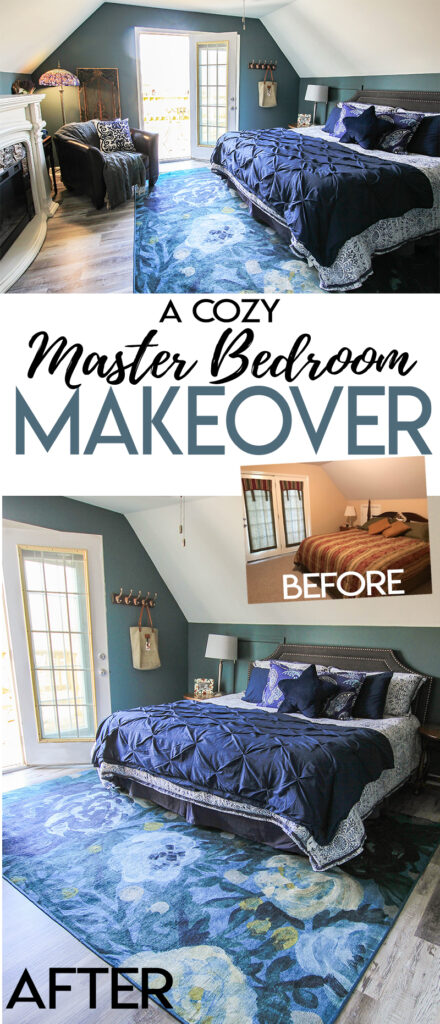 Want to make your master bedroom feel like a cozy vacation retreat? This  Master Bedroom before and after makeover features the Camellia Midnight rug from Ruggable and pretty teal blue paint to match! #ad
