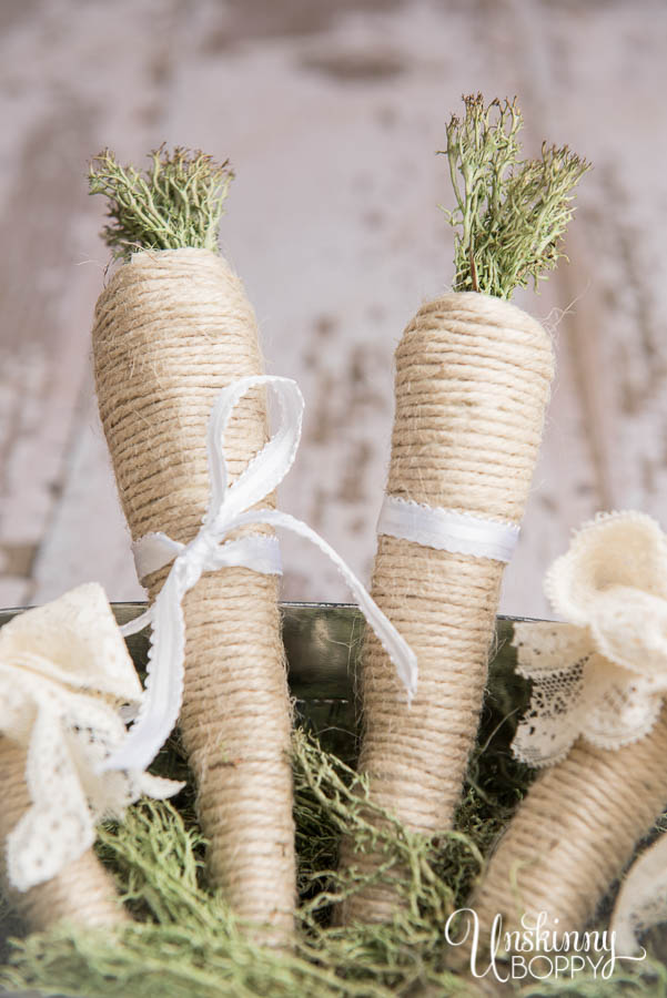 Easter themed decor- Twine carrots with moss tops