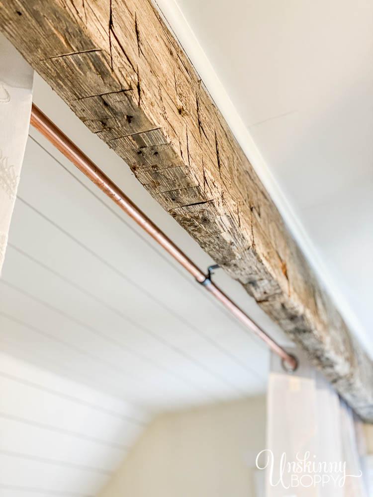 reclaimed beam on ceiling