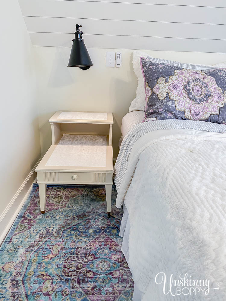 Dreamy loft bedroom makeover with Bohemian vibe, shiplap and aqua/purple rug