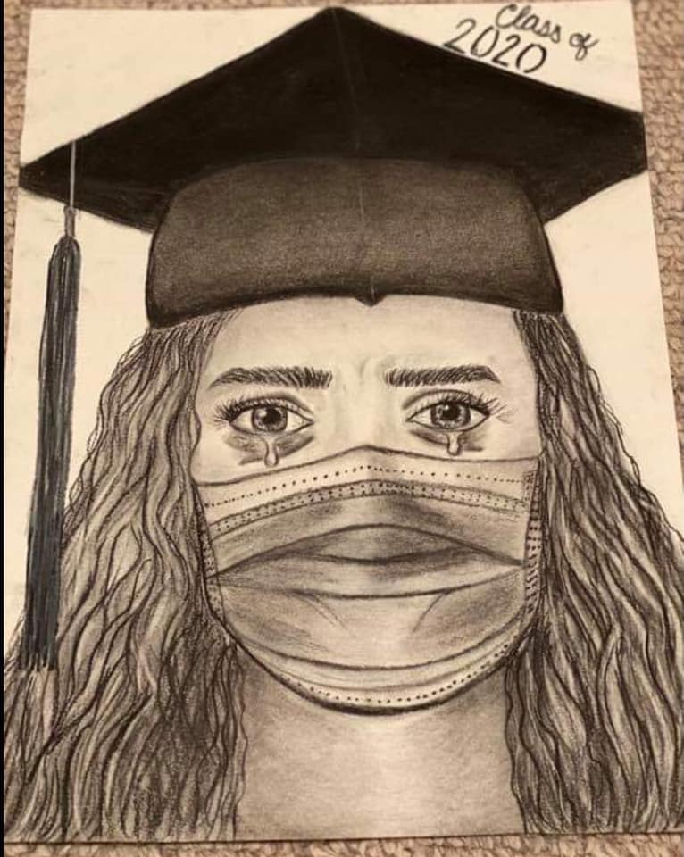 Sketch of Class of 2020 High school graduation cap and gown crying in mask