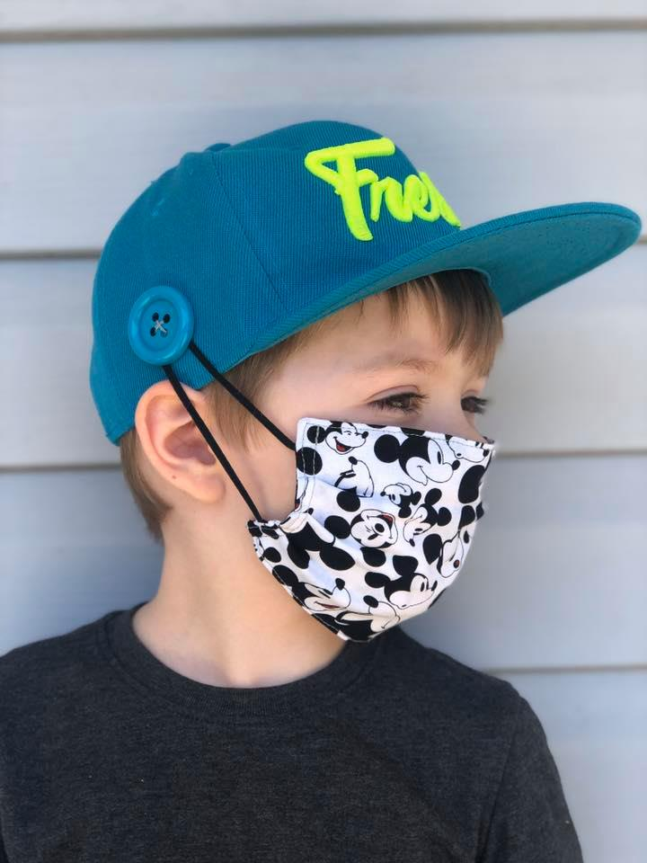 sew button on baseball hat for face masks