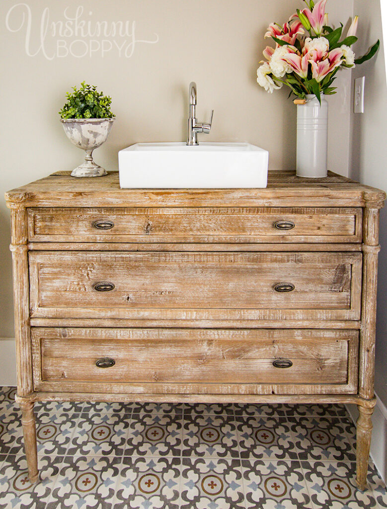 Beautiful custom bathroom vanity from old chest of drawers